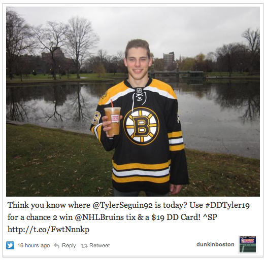 Tyler Seguin in the Boston Public Garden's Swan Pond