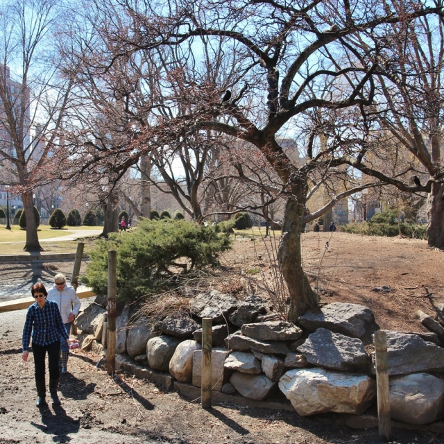 Liz Vizza (front) and Bobby Moore access the Public Garden island just days before it is filled for the season