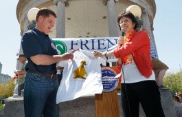 Mayor Walsh was presented with a Duckling Day t-shirt