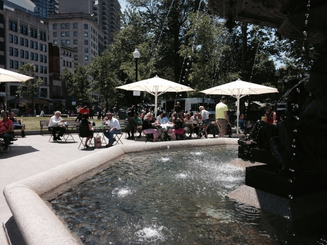 Brewer Fountain Plaza is once again a vibrant gathering place