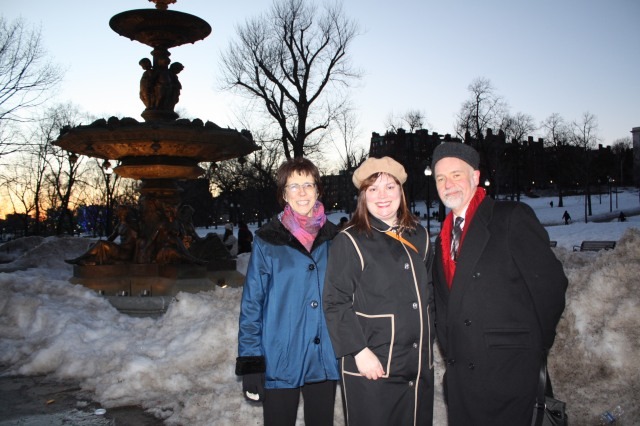 Friends of the Public Garden Executive Director Elizabeth Vizza, BLC's Staff Architect Elizabeth Stifel and Director of Design Review William Young at Brewer Fountain Plaza on Boston Common.