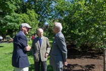 Bill Clendaniel, Peter Brooke, and Henry Lee near the horse chestnut tree dedicated to Anne Brooke