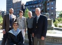 Cassidy Choust, Liz Vizza, Peter White, Gene Bolinger, and Bob Mulcahy in front of the George Robert White Memorial fountain
